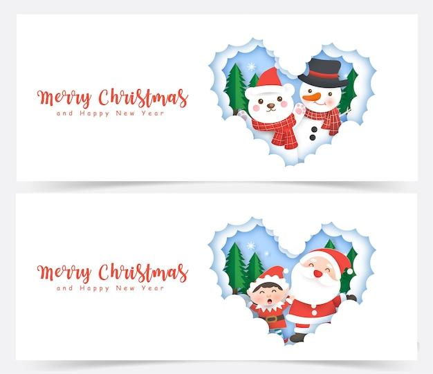 Conjunto de banners de natal com o papai noel e amigos em corte de papel e estilo artesanal.