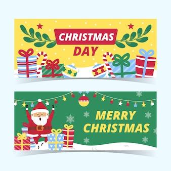 Conjunto de banners de natal horizontais desenhados à mão