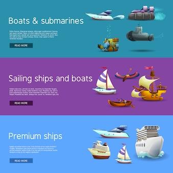 Conjunto de banners de navios e barcos