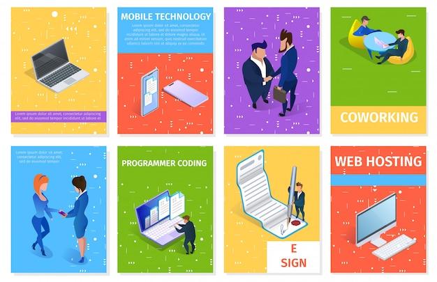 Conjunto de banners de negócios e gadgets com espaço para texto