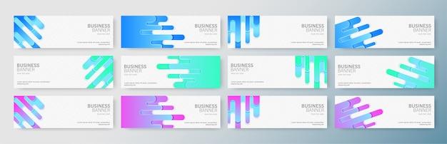 Conjunto de banners de negócios modernos com forma abstrata