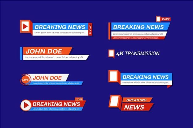 Conjunto de banners de notícias de transmissões ao vivo
