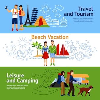 Conjunto de banners de opções de férias
