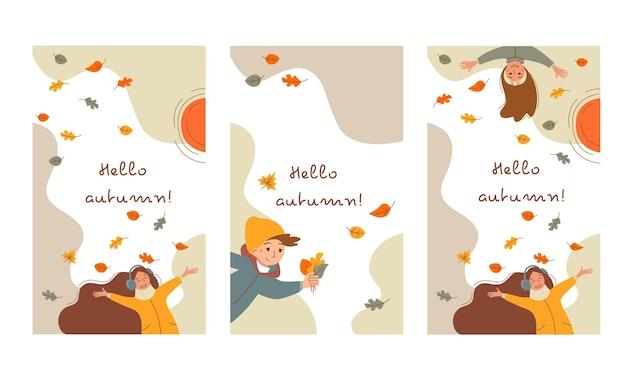 Conjunto de banners de outono com pessoas felizes e queda de folhas.