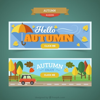 Conjunto de banners de outono em design plano