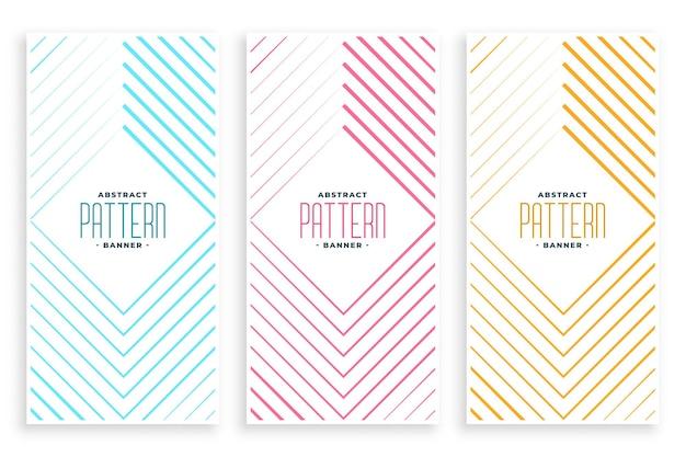 Conjunto de banners de padrão de linha em forma de diamante abstrato