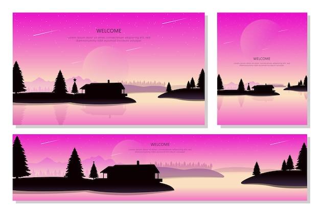 Conjunto de banners de paisagem de natal