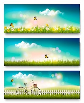 Conjunto de banners de paisagem natureza primavera com flores e borboletas. .