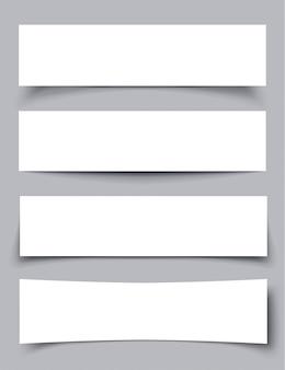 Conjunto de banners de papel com sombras, ilustração em vetor material design