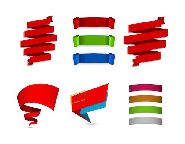 Conjunto de banners de papel e fitas onduladas