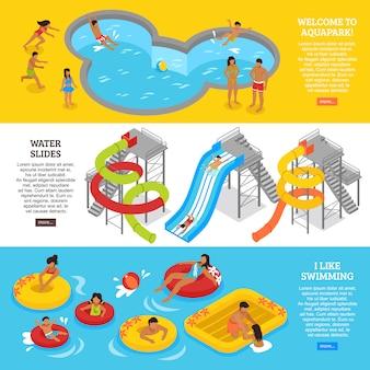 Conjunto de banners de parque aquático