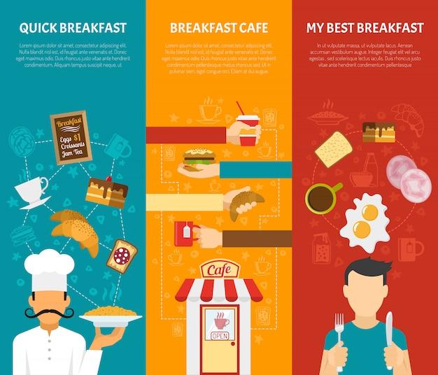 Conjunto de banners de pequeno-almoço
