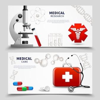 Conjunto de banners de pesquisa médica
