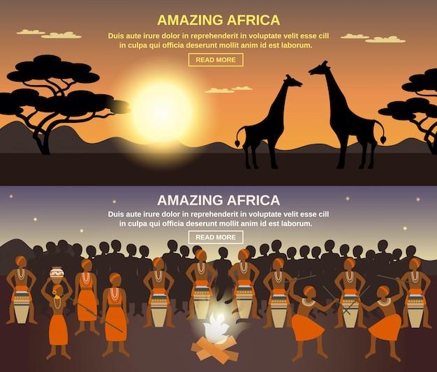 Conjunto de banners de pessoas africanas