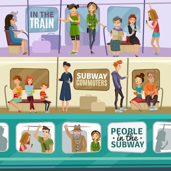 Conjunto de banners de pessoas de metrô