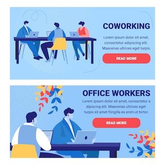 Conjunto de banners de pessoas e trabalhadores de escritório de coworking