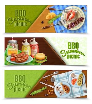 Conjunto de banners de piquenique de verão para churrasco