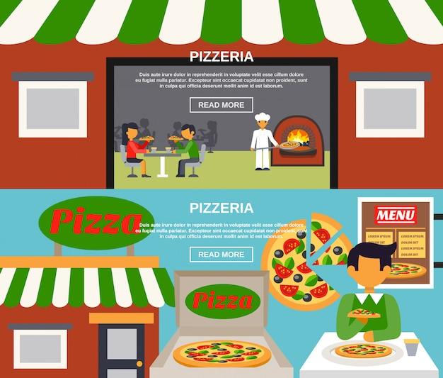 Conjunto de banners de pizzaria