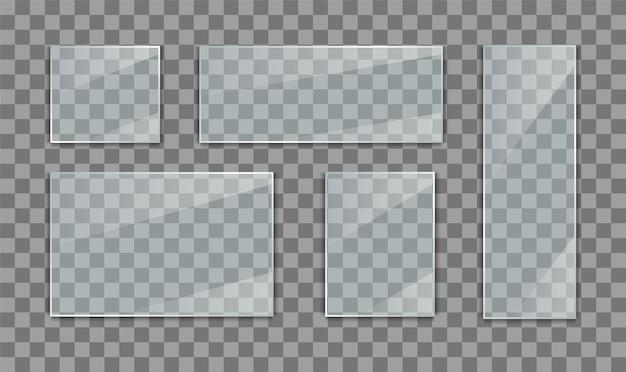Conjunto de banners de placa de vidro em fundo transparente.