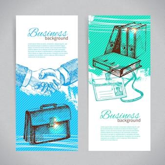 Conjunto de banners de planos de negócios desenhados à mão