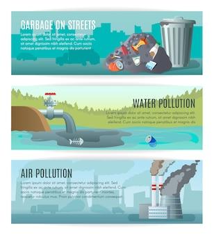 Conjunto de banners de poluição ambiental