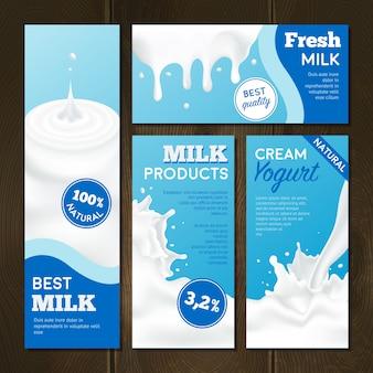 Conjunto de banners de produtos lácteos