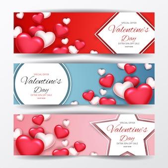 Conjunto de banners de promoção de venda de dia dos namorados
