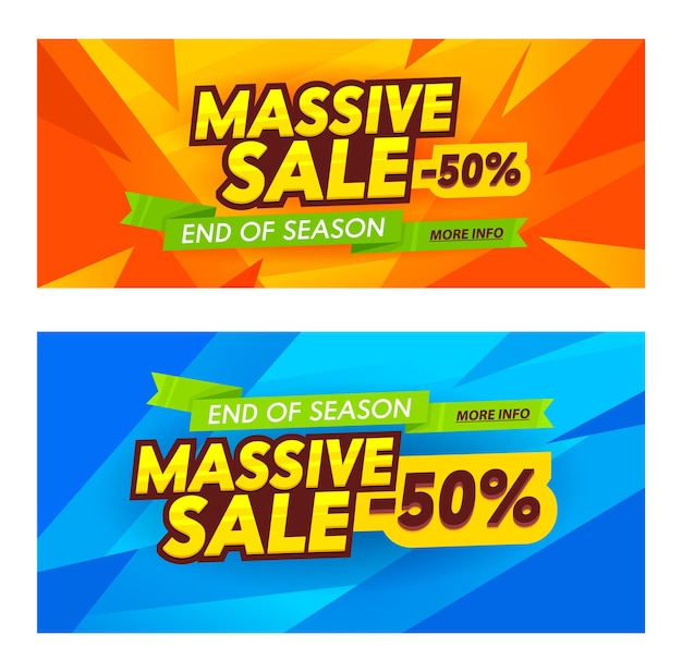 Conjunto de banners de publicidade de venda massiva.