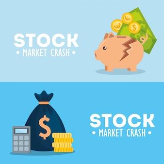 Conjunto de banners de queda do mercado de ações