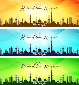 Conjunto de banners de ramadan kareem