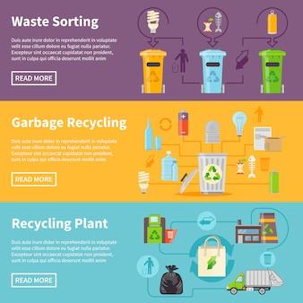 Conjunto de banners de reciclagem de lixo