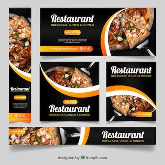 Conjunto de banners de restaurante com foto