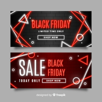 Conjunto de banners de sexta-feira negra de néon