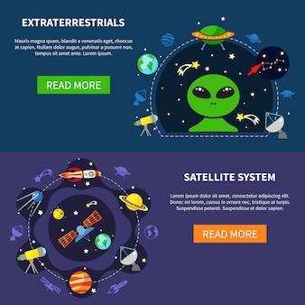 Conjunto de banners de sistema de satélite