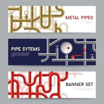 Conjunto de banners de sistema de tubulação