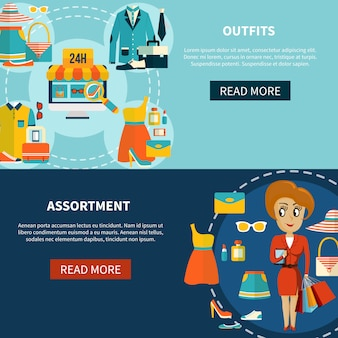 Conjunto de banners de sortimento de compras on-line