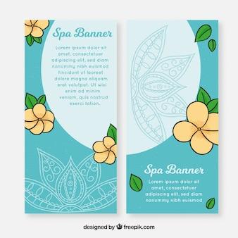 Conjunto de banners de spa com flores