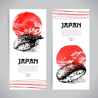 Conjunto de banners de sushi japonês. desenho de ilustrações para o menu