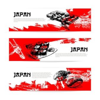 Conjunto de banners de sushi japonês. ilustrações de esboço