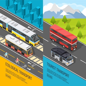 Conjunto de banners de transporte ecológico