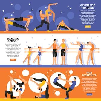 Conjunto de banners de treinamento de dança e ginástica