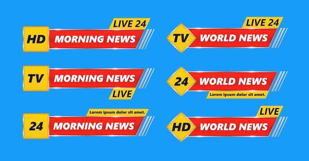 Conjunto de banners de tv de notícias de última hora. notícias de última hora, full hd, ultra hd, dramatização, gravação ao vivo. cabeçalho inferior, nome do canal ou emblema com texto, linha inferior de terceira parte.