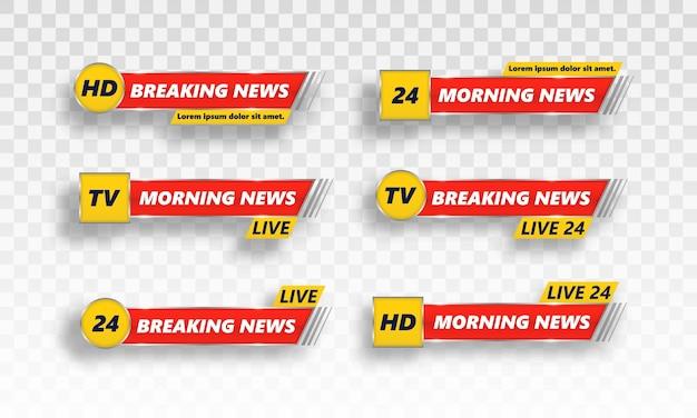Conjunto de banners de tv de notícias de última hora.