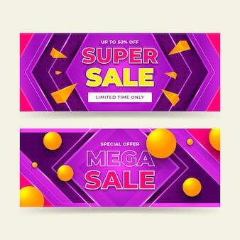 Conjunto de banners de venda abstratos de gradiente