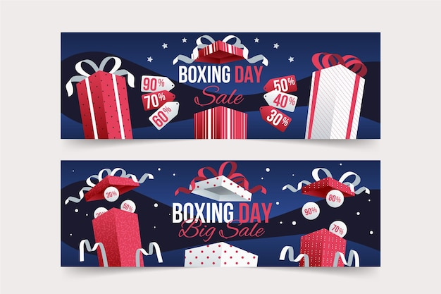 Conjunto de banners de venda de boxing day