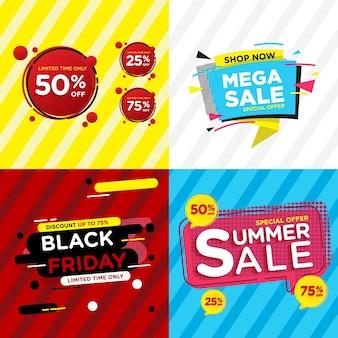 Conjunto de banners de venda de design colorido para promoções de produtos de compras online