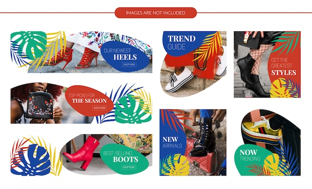 Conjunto de banners de venda de design tropical