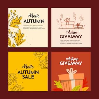 Conjunto de banners de venda de feliz outono