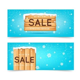 Conjunto de banners de venda de inverno com elementos realistas