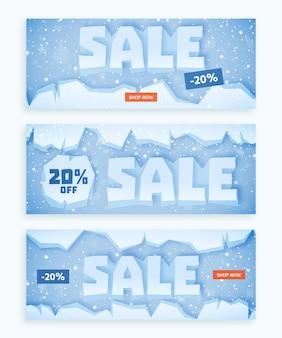 Conjunto de banners de venda de inverno de design plano